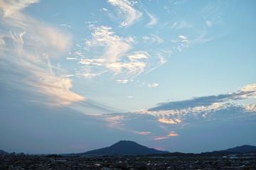 evening cloudy summer sky above fukuoka, Japan