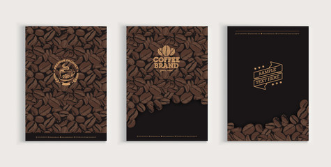 Coffee beans cover design set