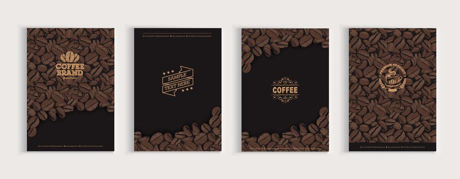 Coffee beans cover design set