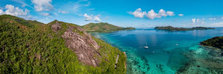 Praslin Seychelles Aerial view bay with catamaran