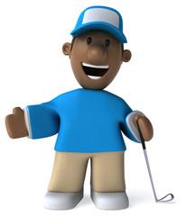 Fun golfer - 3D Illustration