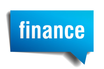 finance blue 3d speech bubble