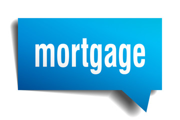 mortgage blue 3d speech bubble
