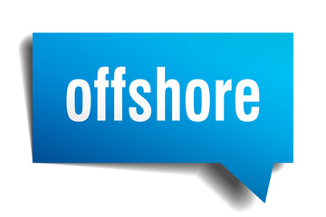 offshore blue 3d speech bubble