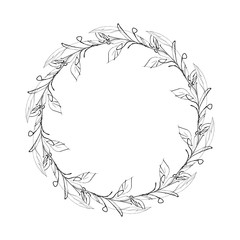 Leaves Wreath. Hand Drawn Illustration.