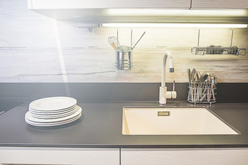 Picture of a modern white kitchen