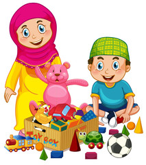 Muslim kids playing toy