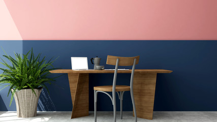 Workplace decorate blue wall and pink wall in office or home - Study room or workplacefor artwork residence business - 3D Rendering