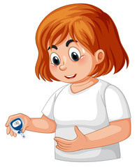 Girl with diabetes checking blood glucose