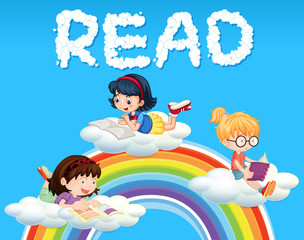 Girls reading book on cloud