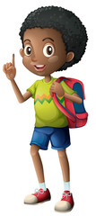 An african boy with backpack
