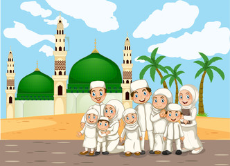 A muslim family in front of mosque
