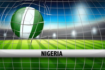 Nigeria soccer ball in goal