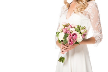 cropped shot of bride holding beautiful bouquet isolated on white