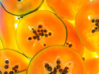 pattern of fresh ripe papaya back lit slices Wall mural