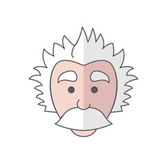 Cute Mad Scientist Logo icon with big mustache that looks somewhat like Einstein