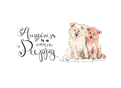 Card with two cute happy puppies drawing with text