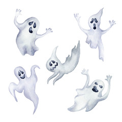 Set of halloween ghosts.