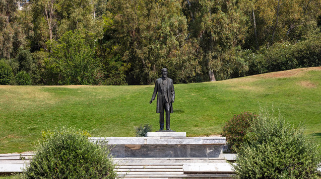 Venizelos Eleftherios statue at liberty park in Athens, Greece. Nature background.
