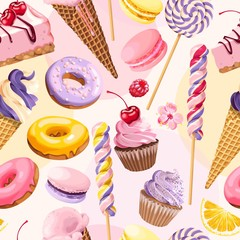 Seamless pattern with pink and lilac sweets