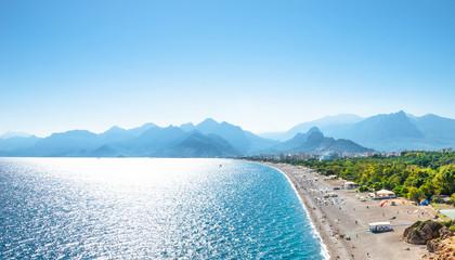 Panoramic bird view of Antalya and Mediterranean seacoast and beach, Antalya, Turkey