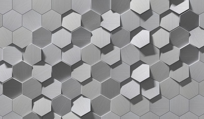 Hexagonal Metal Background (Detail 3D Illustration)