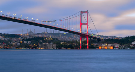 Bosporus Bridge at night, Ortakoy district, Istanbul TurkeyBosporus Bridge at night, Ortakoy district, Istanbul Turkey