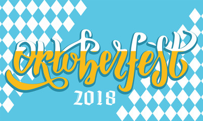 Oktoberfest 2018 handwritten lettering logotype on white and blue Bavarian pattern. Beer Festival vector banner. Blue, white lettering typography for logo, poster, card. Word is filled with foamy beer