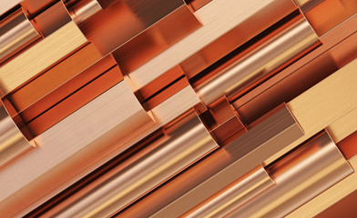 Copper rolled metal products. Stack of round, square, hexagonal copper rods. 3d illustration.