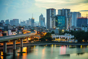 Aerial skyline view of Hanoi. Hanoi cityscape at twilight at Hoang Cau lake