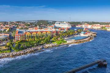 Fototapete - Downtown of Willemstad, Curasao, ABC