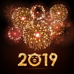 Vector holiday festival golden firework. Happy new year card 2019