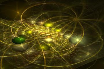 Abstrct Digital Artwork. Microcivilization. Cosmic ornament. Digital Art. Technologies of fractal graphics.