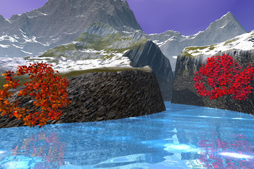 River in the canyon, an autumn landscape, beautiful trees, wonderful waters and mountains in the background.