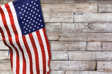 Closeup of  American flag on background
