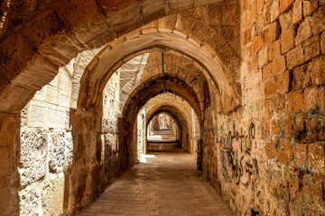 Foto op Canvas Historisch geb. Sreet of Jerusalem Old City Alley made with hand curved stones. Israel
