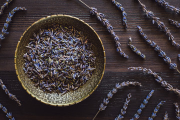 Brass Bowl of Dried Lavender