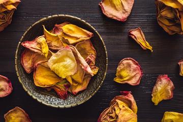 Brass Bowl of Dried Orange Rose Petals