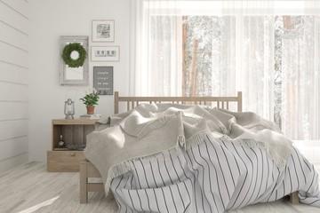 White bedroom with winter landscape in window. Scandinavian interior design. 3D illustration