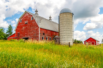 An Old Barn and Silo Stand Tall on a Hill in Minnesota Wall mural