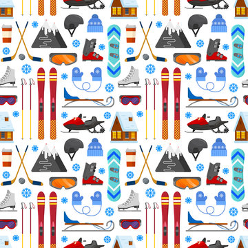 pattern with winter equipment