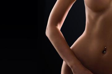 Crop photo of perfect female body. Beautiful woman