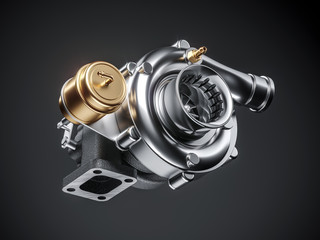 Automobile turbocharger on dark background. 3d
