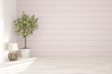 Mock up of white empty room with flower. Scandinavian interior design. 3D illustration