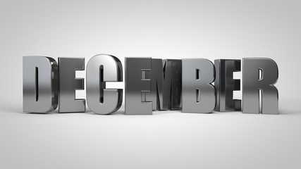 December calendar month metallic text 3d render