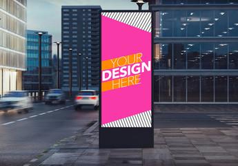 Advertising Kiosk on City Street Mockup