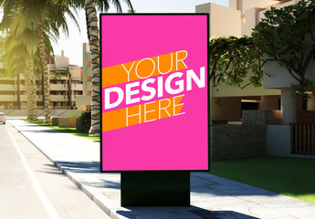 Advertising Kiosk on Sidewalk Mockup