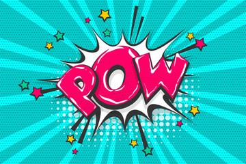 Fotobehang Pop Art Pow pop art comic book text speech bubble