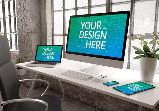 4 Devices on White Desk Mockup