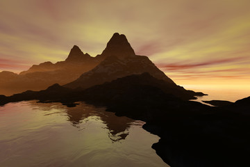 Sunset, a beautiful  landscape, fog on the rocks, reflection on water and colored clouds in the sky.